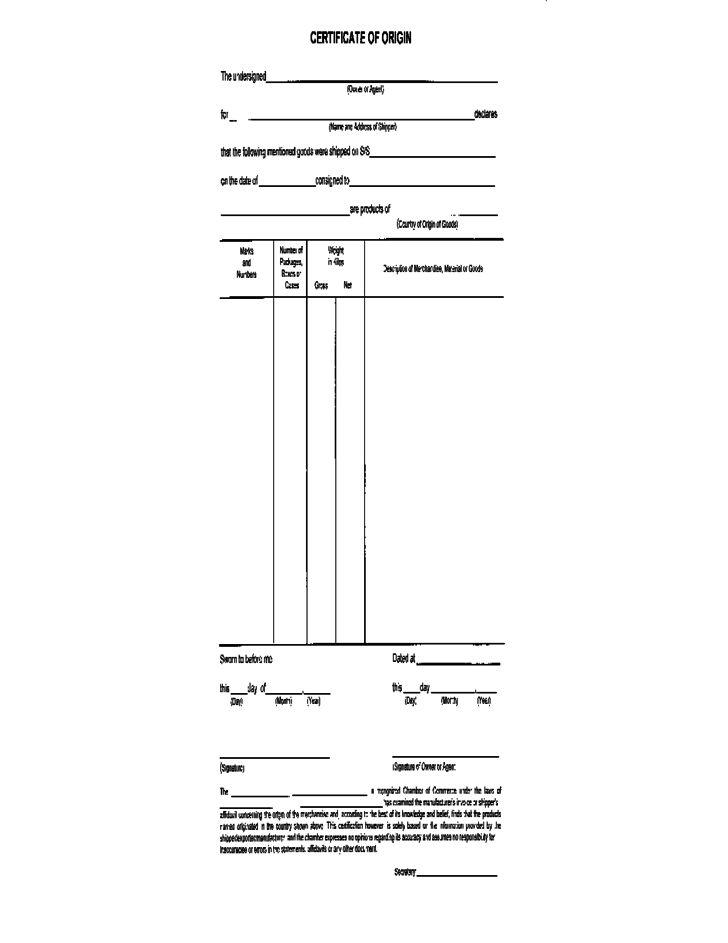 Certificate of Origin Form Sample Free Download