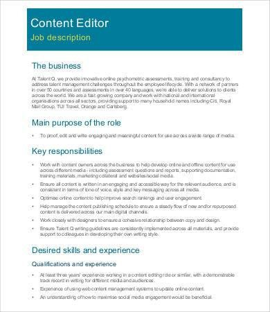 content editor job description sample 9 examples in word pdf. job ...