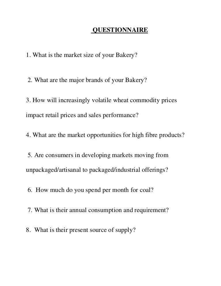 Questionaire bakery