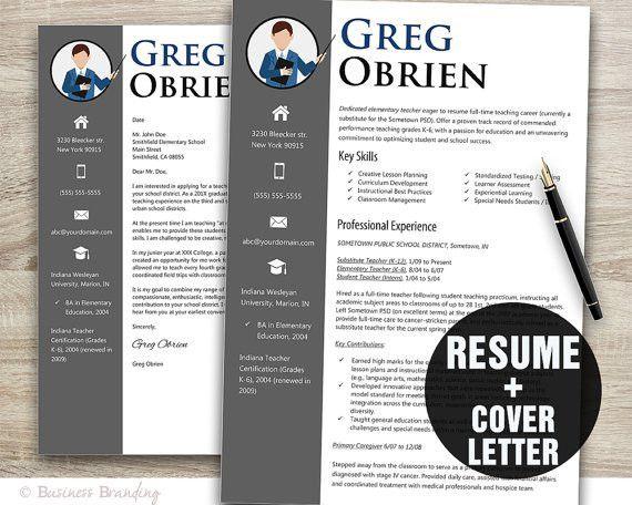 Teacher Resume Template Word / Cover Letter by BusinessBranding ...