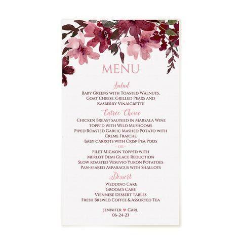 Painted Bliss Wedding Menu Template - EDITABLE TEXT - Marsala Wine & P