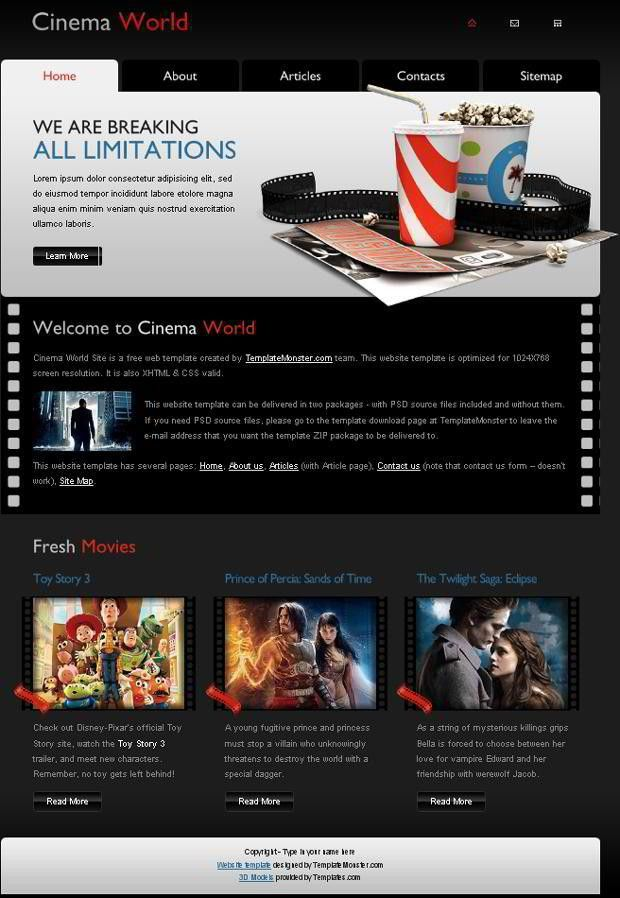 Free Cinema Website Template - A New Monday Freebie - MonsterPost