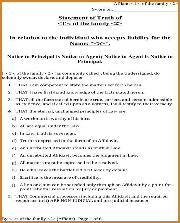 statement of facts template   notary letter
