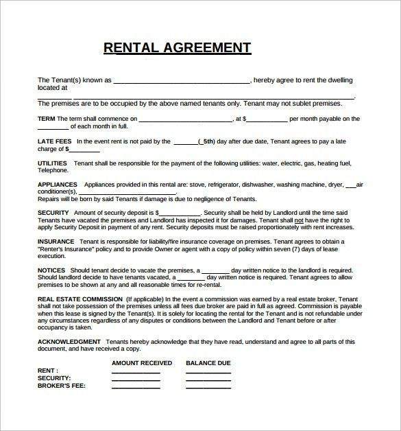 Rental Lease Agreement - 5+ Free Samples, Examples, Format