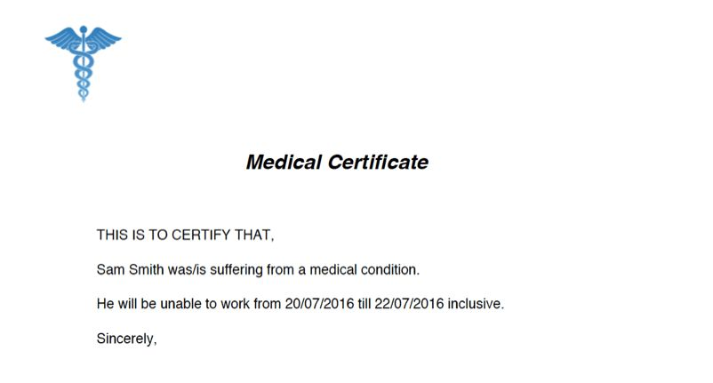 Doctor's Certificate and Medical Certificate Online Australia