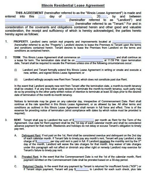 Free Illinois Residential Lease Agreement – PDF Template