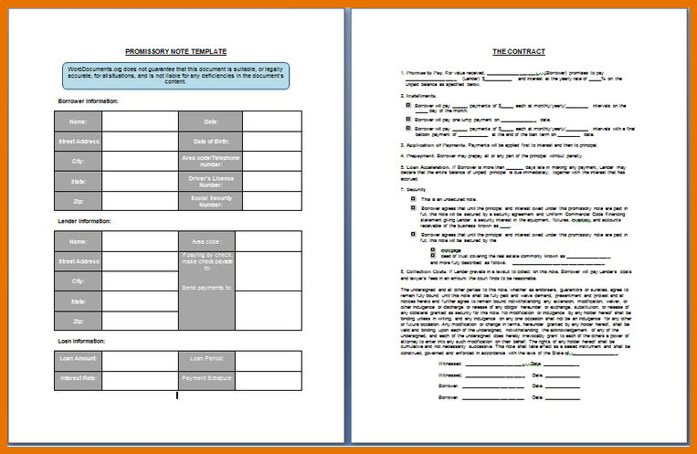 7+ promissory note template | Itinerary Template Sample
