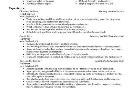 Sample Server Resume Examples Resume For Server Experience ...