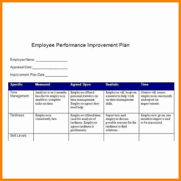 4+ employee performance improvement plan template - mail clerked