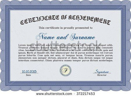 Blue Certificate Diploma Coupon Template Stock Vector 140422204 ...
