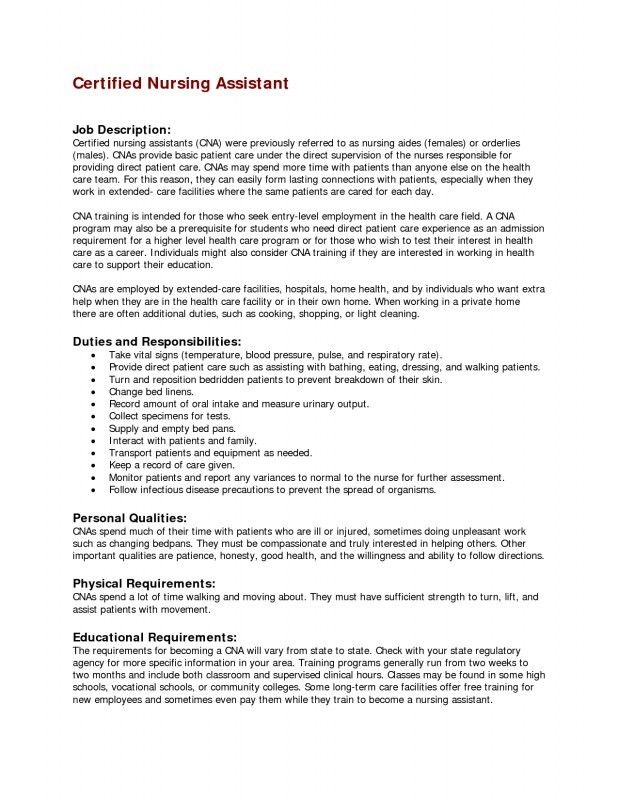 Cna Job Duties. Information On Job Responsibilities Of A Cna ...