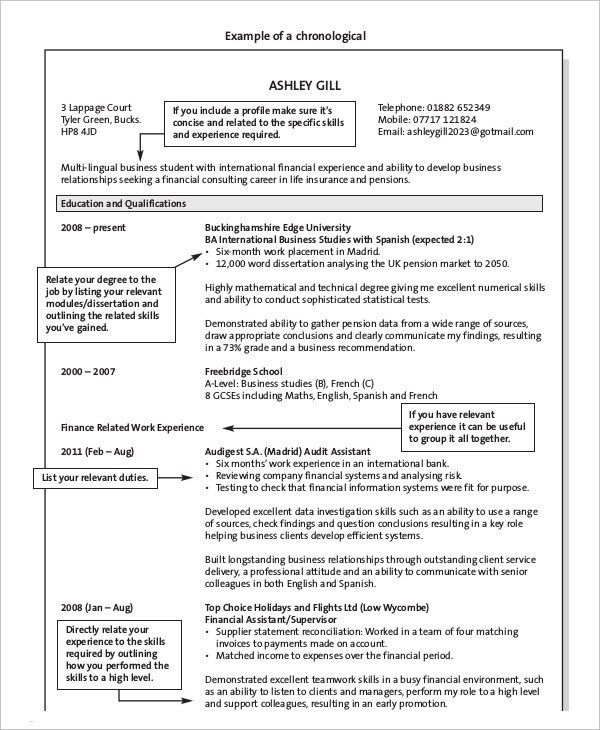 Chronological Resume - 10+ Free Word, PDF Documents Download ...