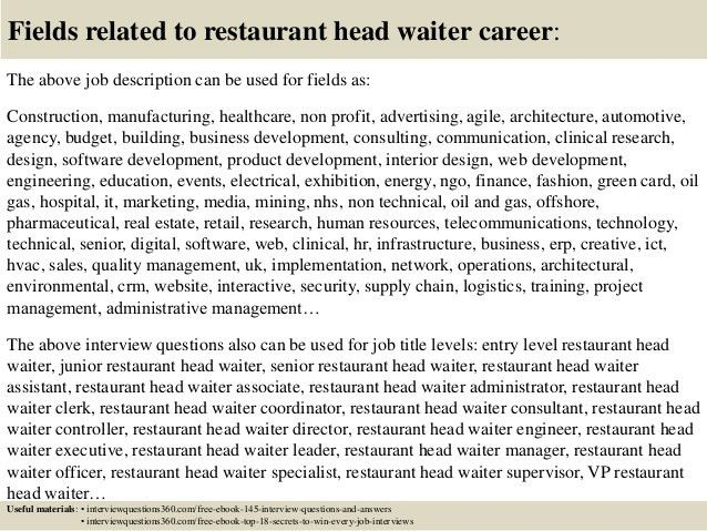 Top 10 restaurant head waiter interview questions and answers