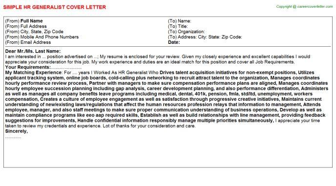 3d Generalist Cover Letters