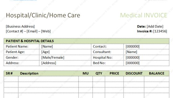 Dental Invoice Template | Excel | PDF | Word (.doc) | Bank ...