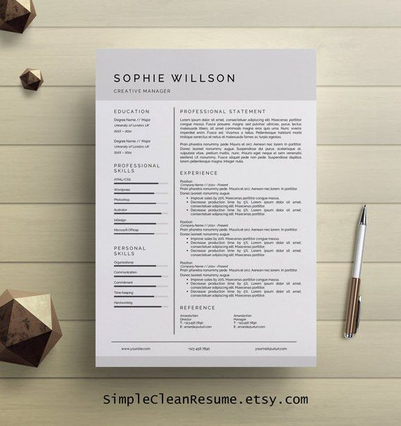 Simple Resume Template Clean CV Design Cover Letter MS Word