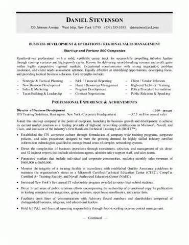 Resume Sample Business Development professional experience ...