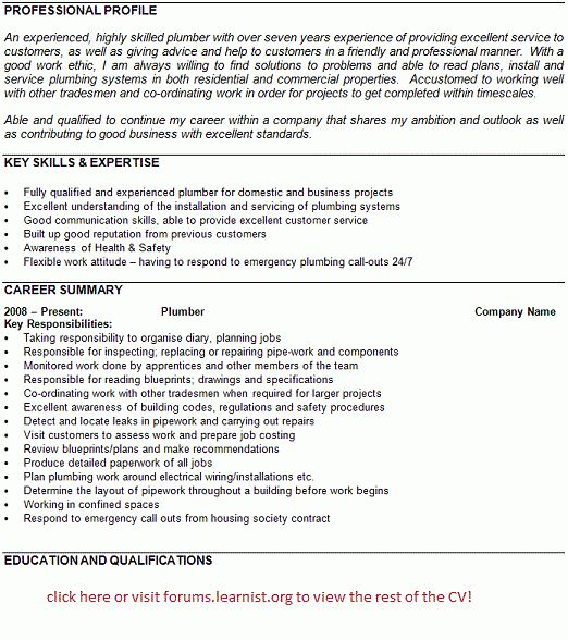Plumber CV Example   Template   Forums.learnist.org  Plumber Resume