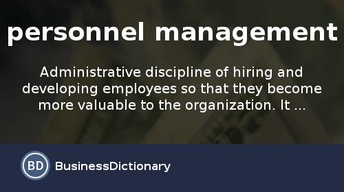 What is personnel management? definition and meaning ...