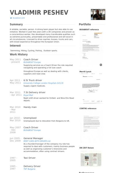 Driver Resume samples - VisualCV resume samples database