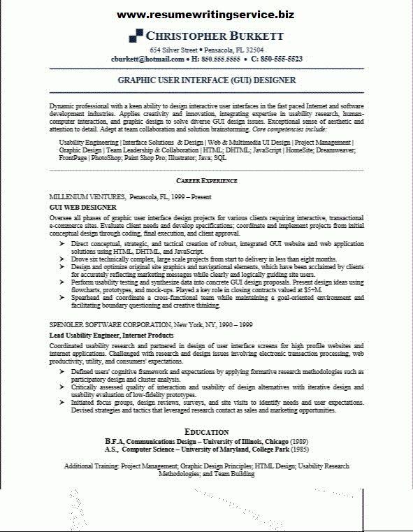 GUI Designer Resume Sample | Resume Writing Service