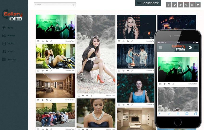 Photo Gallery Mobile Website Templates