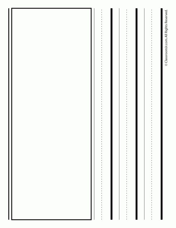Handwriting Paper with Box - Landscape - Woo! Jr. Kids Activities