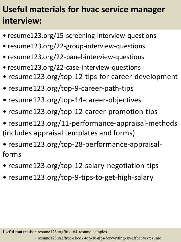 Top 8 hvac service manager resume samples