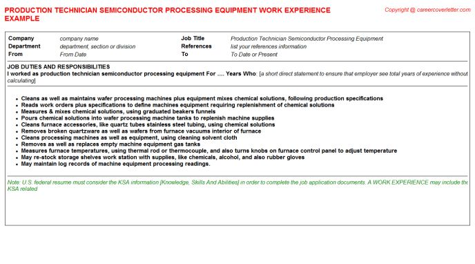 Production Technician Aseptic Filling CV Work Experience Samples