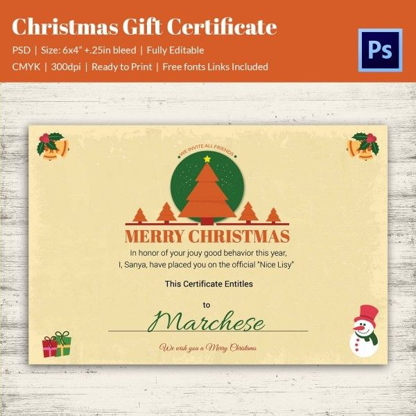 Christmas Gift Certificate Templates - 21+ PSD Format Download ...