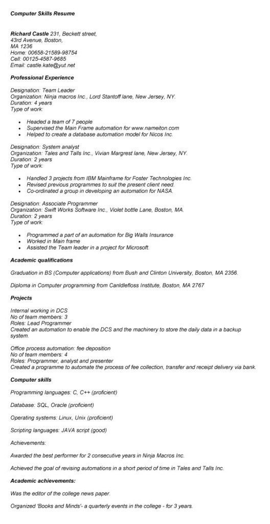 Computer Skills Qualifications Resume