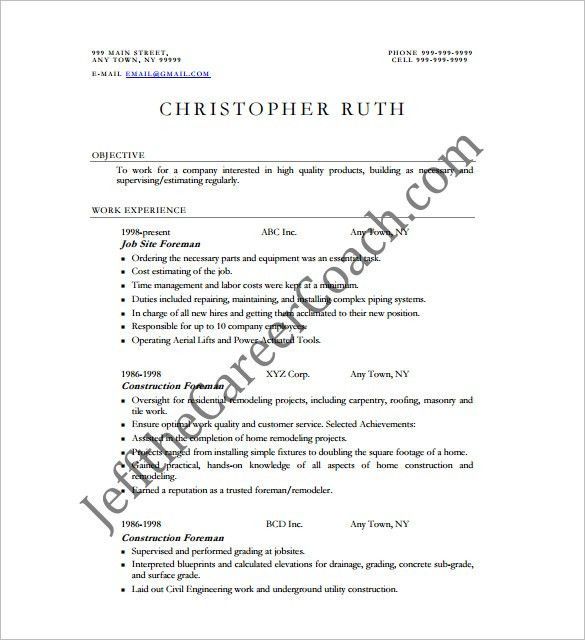 Construction Resume Template – 9+ Free Word, Excel, PDF Format ...