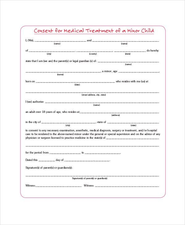 Sample Medical Consent Forms   8+ Free Documents In PDF, Doc