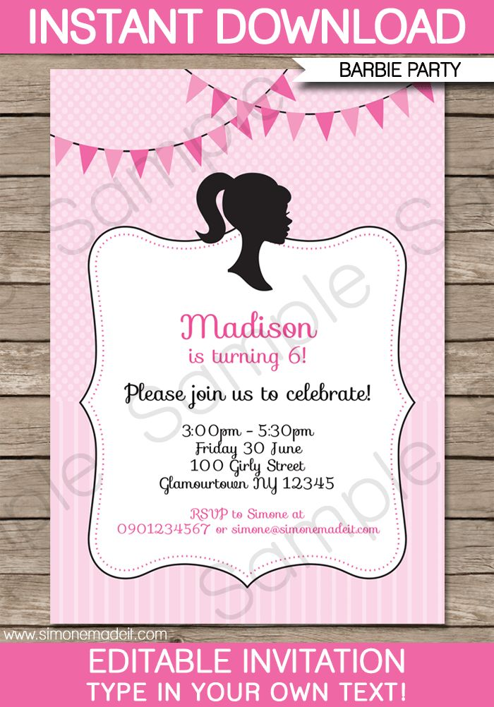 Barbie Party Invitations Template | Birthday Party