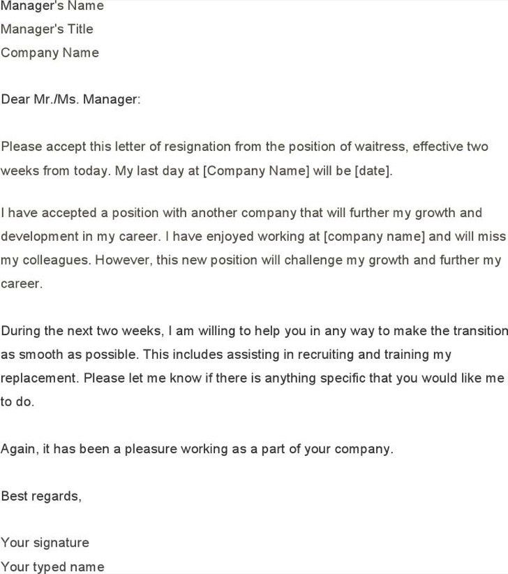 Two Week Notice Templates - Contegri.com