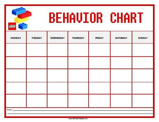 Lego Behavior Chart - Free Printable - AllFreePrintable.com