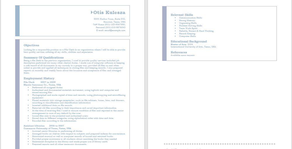 Office Resumes – Sample Resumes