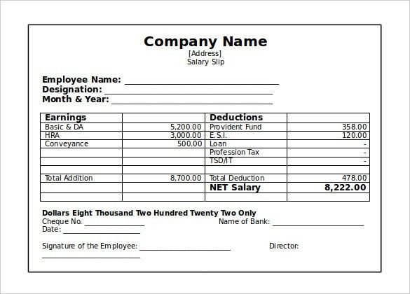 Inspiring Salary Slip Template Example for Company with Employee ...
