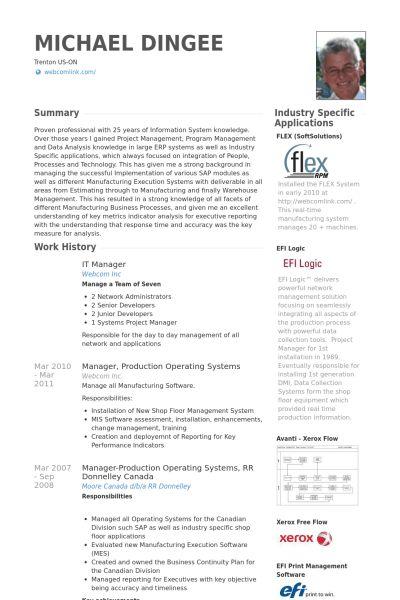 It Manager Resume samples - VisualCV resume samples database