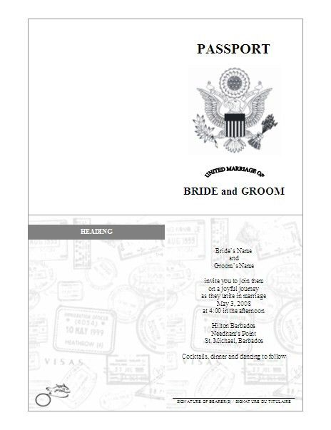 Passport Invitation Template - pre-designed | passport ideas ...