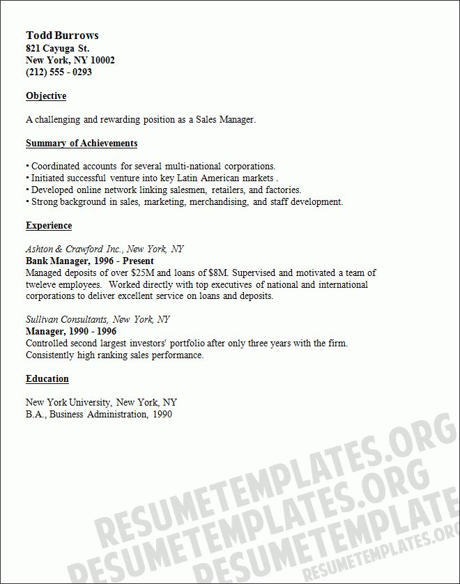Sales manager resume template - Selling resumes collection