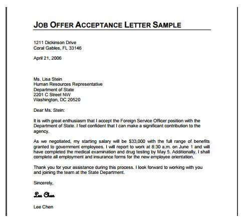 20+ How To Write A Letter Accepting A Job Offer | Job Offer Reply ...
