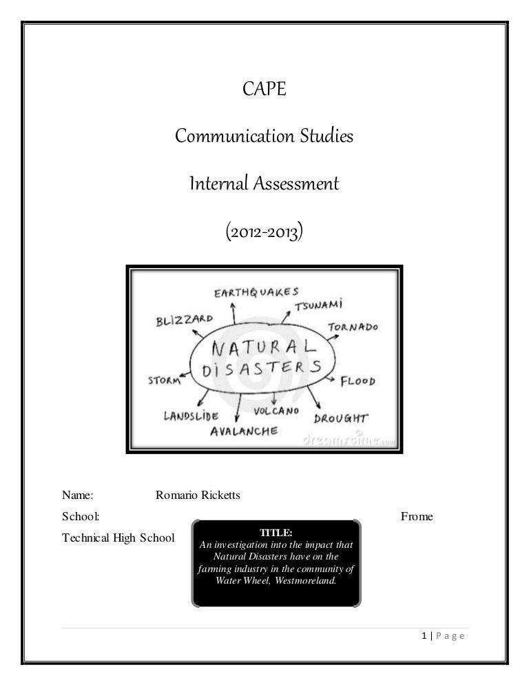 CAPE Caribbean Studies Sample Internal Assessment (IA) - Natural Disa…