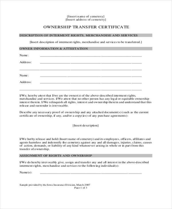 Ownership Transfer Letter Template - 5+ Free Word, PDF Format ...
