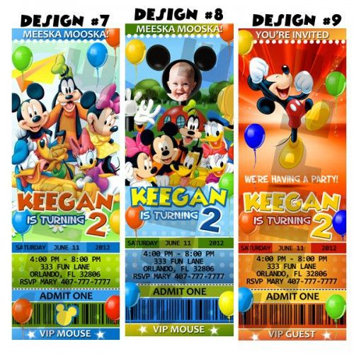 Mickey Mouse Birthday Party Ticket Invitations Custom Minnie - DIY ...