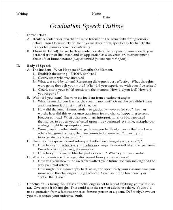 Graduation Speech Example - 10+ Samples in PDF, Word