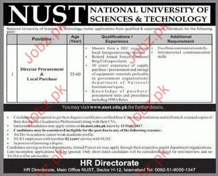 Director Procurement required in NUST 2017 Jobs Pakistan Jobz.pk