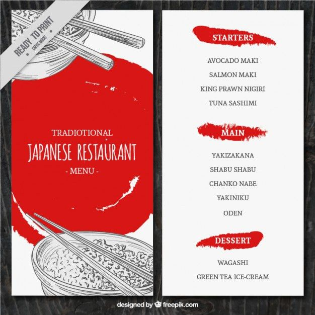 Sketches japanese food menu template Vector | Free Download