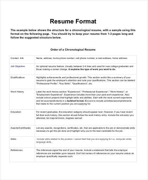 Chronological Resume Templates. Traditional Resume Template Free 8 ...