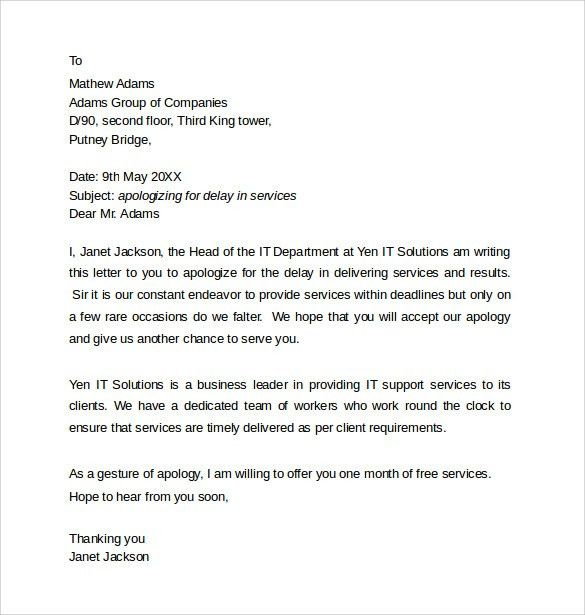 Sample Professional Apology letter - 10+ Download Free Documents ...